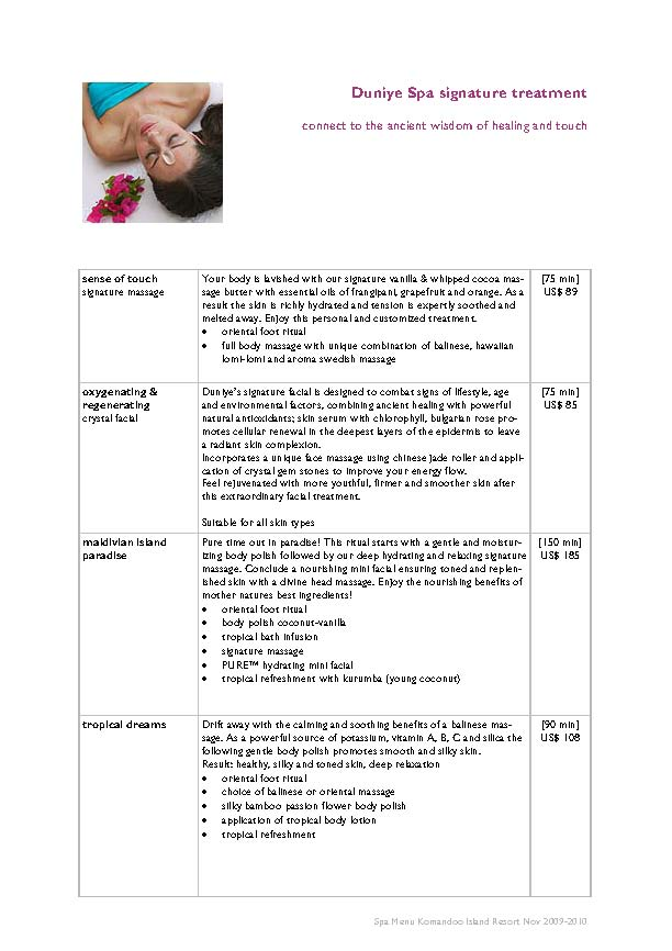 Duniye Spa treatments and price list Duniye11