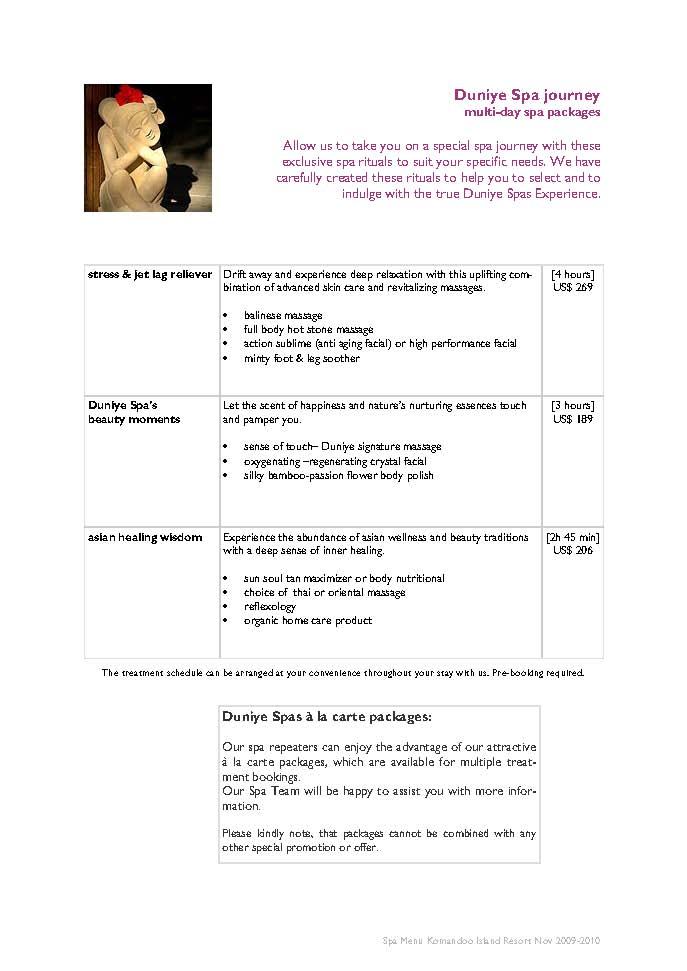 Duniye Spa treatments and price list Duniye12