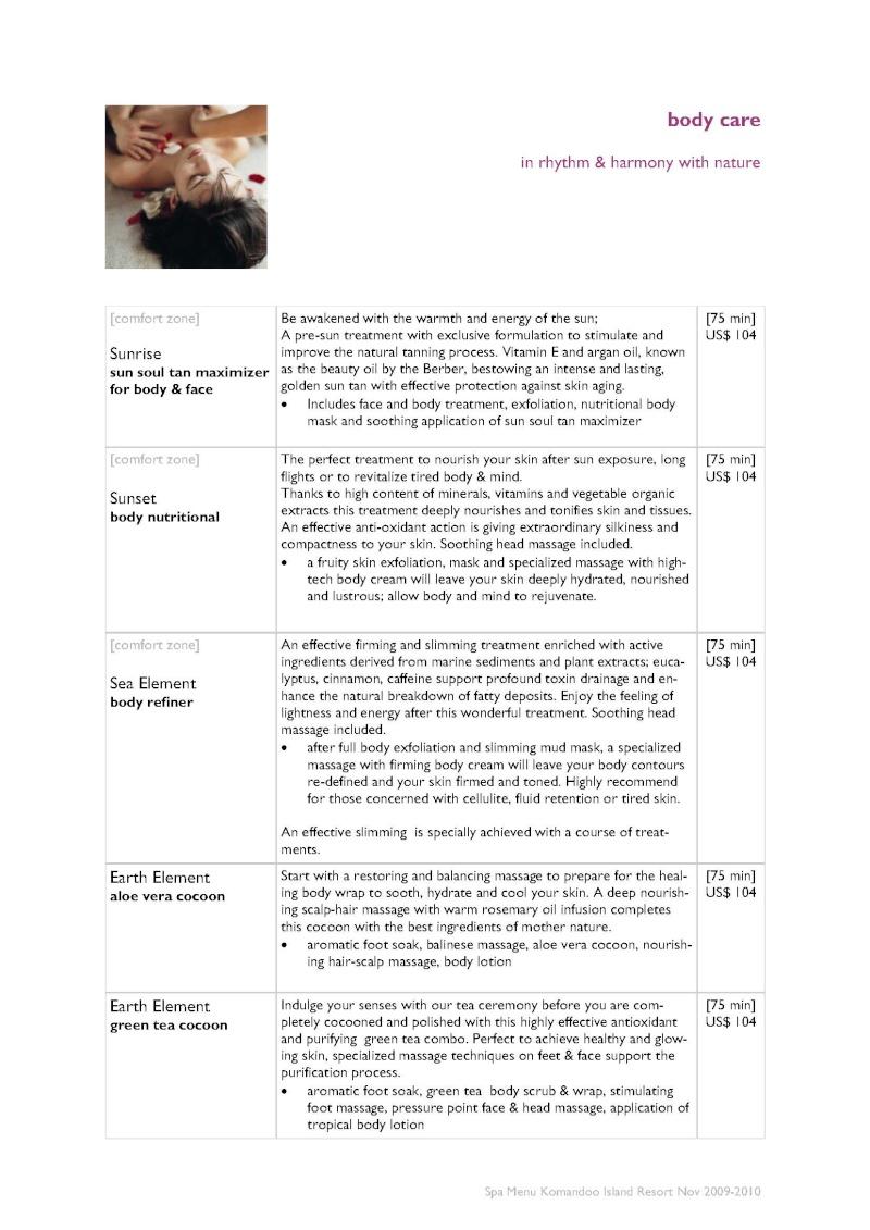 Duniye Spa treatments and price list Duniye15