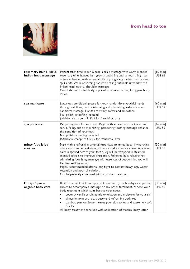 Duniye Spa treatments and price list Duniye17