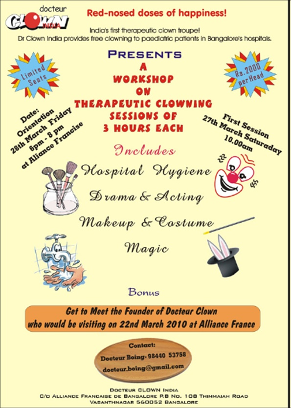 Workshop on therapeutic clowning@ Alliance Française Docteu11