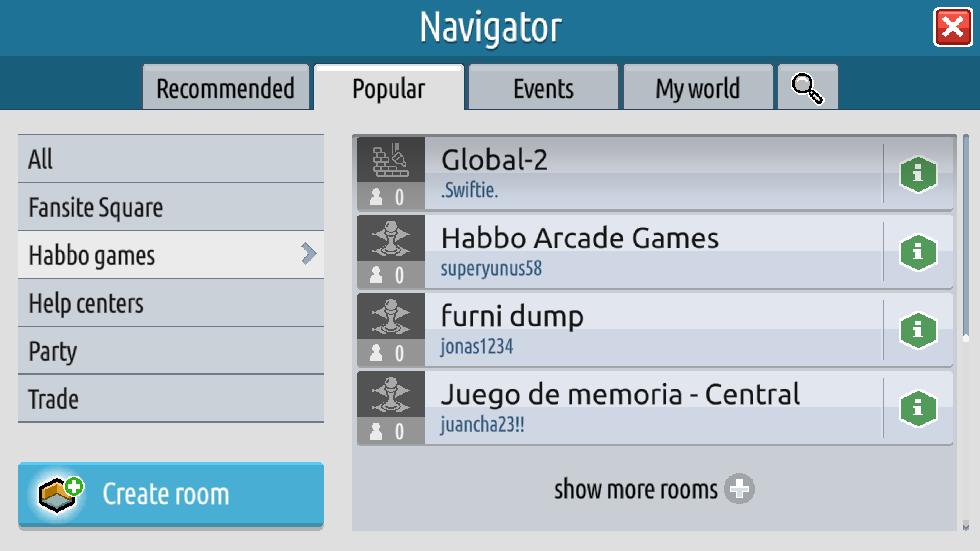 Versione 0.7.0 (5) di Habbo2020: mostra più stanze e bug fixes Sche1268