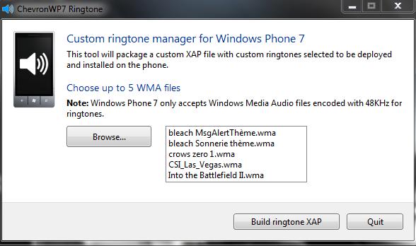 [TUTO] ChevronWP7 sonnerie personnalisée : Mettre la sonnerie de votre choix sur votre WP7 2310