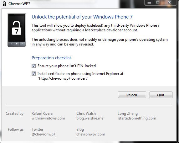 [Ancien Tuto]CHEVRONWP7 pour installer n'importe quelle application WP7 C110