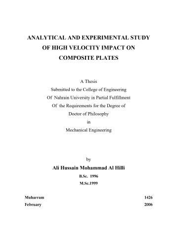 رسالة دكتوراة بعنوان Analytical and Experimental Study of High Velocity Impact on Composite Plates  A_a_e_11