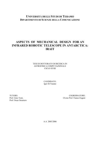 رسالة دكتوراة بعنوان Aspects of Mechanical Design for an  Infrared Robotic Telescope in Antarctica - Irait A_o_m_11