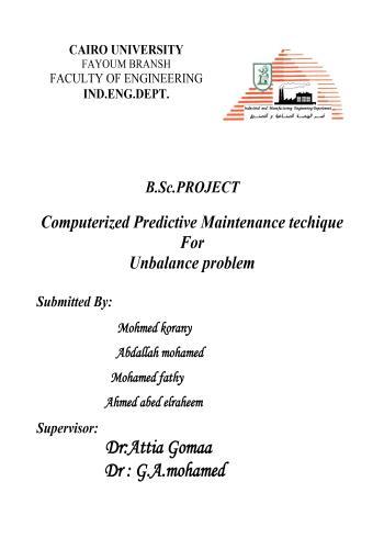 مشروع تخرج بعنوان Computerized Predictive Maintenance Technique for Unbalance Problem  C_p_m_11