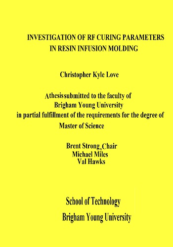 رسالة ماجستير بعنوان Investigation of RF Curing Parameters in Resin Infusion Molding  I_o_r_10