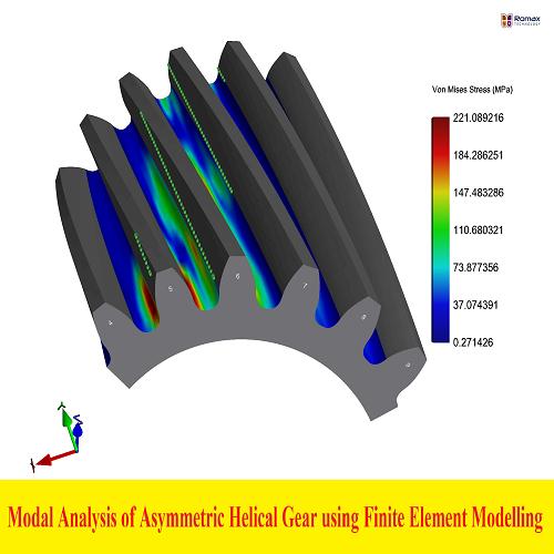 بحث بعنوان Modal Analysis of Asymmetric Helical Gear using Finite Element Modelling for Free and Prestress Condition  M_a_o_10
