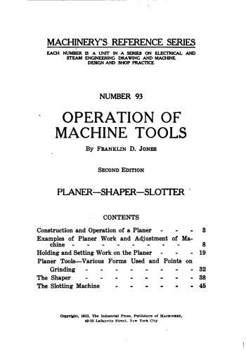 كتاب Operation of Machine Tools - Planer, Shaper, Slotter  M_r_s114