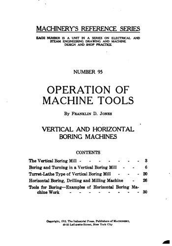 كتاب Operation of Machine Tools - Vertical and Horizontal Boring Machines  M_r_s116