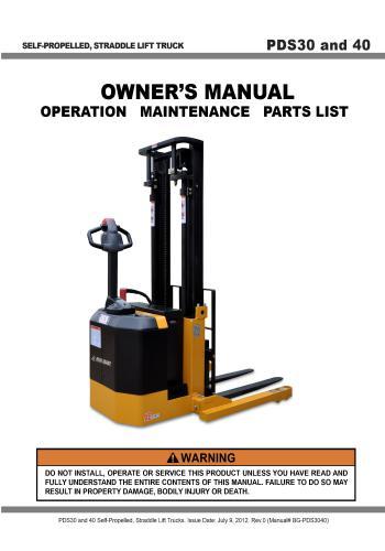 كتالوج PDS30 and PDS40 Owner's Manual - Operation Maintenance  P_d_s_10