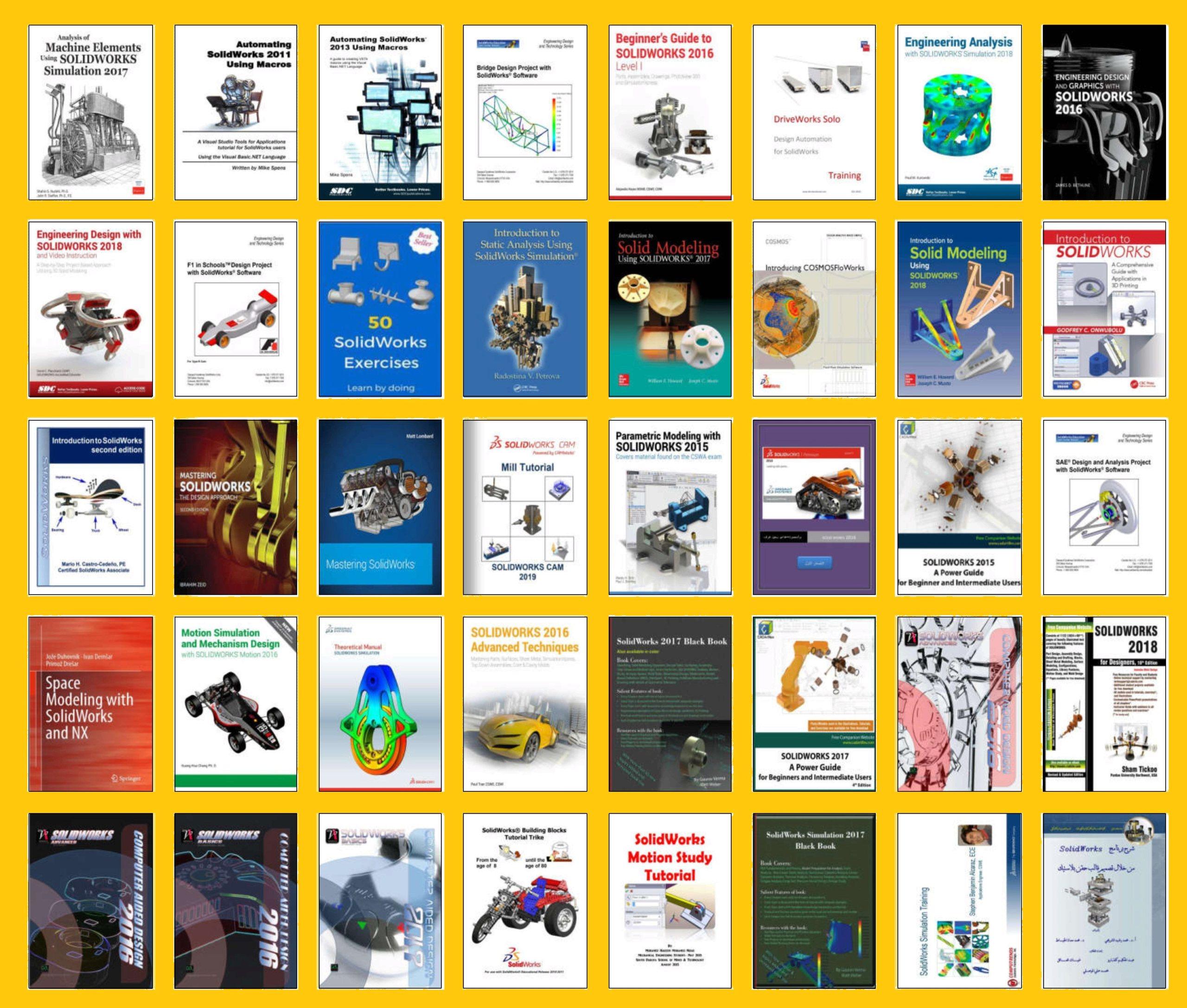 أقوى مجموعة كتب لشرح برنامج التصميم الهندسي الشهير سوليدوركس - Solidworks Solidw10