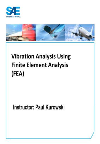 محاضرات بعنوان Vibration Analysis Using Finite Element Analysis (FEA)  V_a_u_10