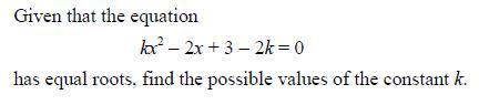 Find k - quadratics problem Quadra10