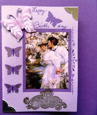 Karte für eine Freundin lila Sdc10934