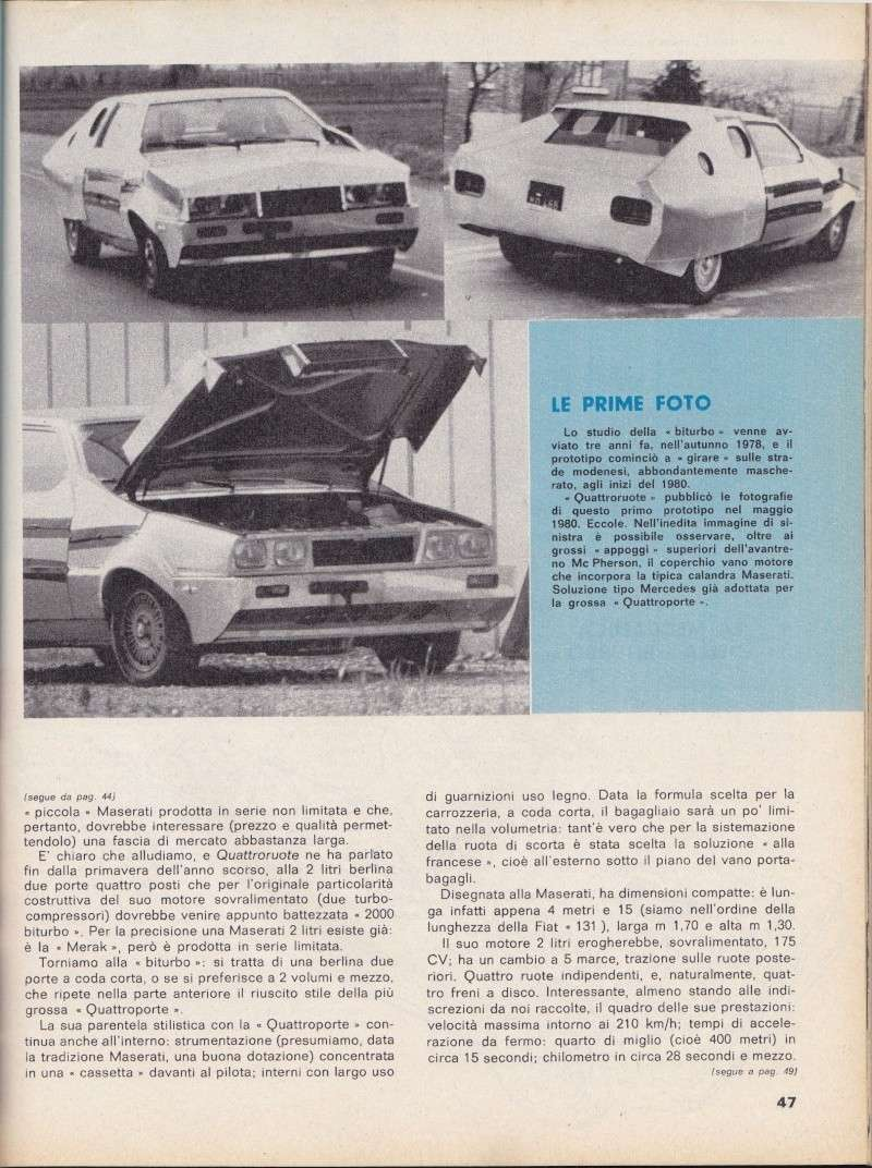 Nel 1980 la Maserati Biturbo camuffata Serviz12