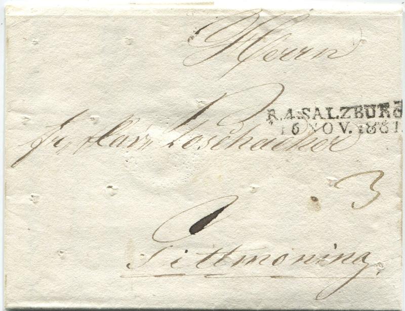 Briefe aus der Vormarkenzeit aus - nach und über Salzburg Salzbu14