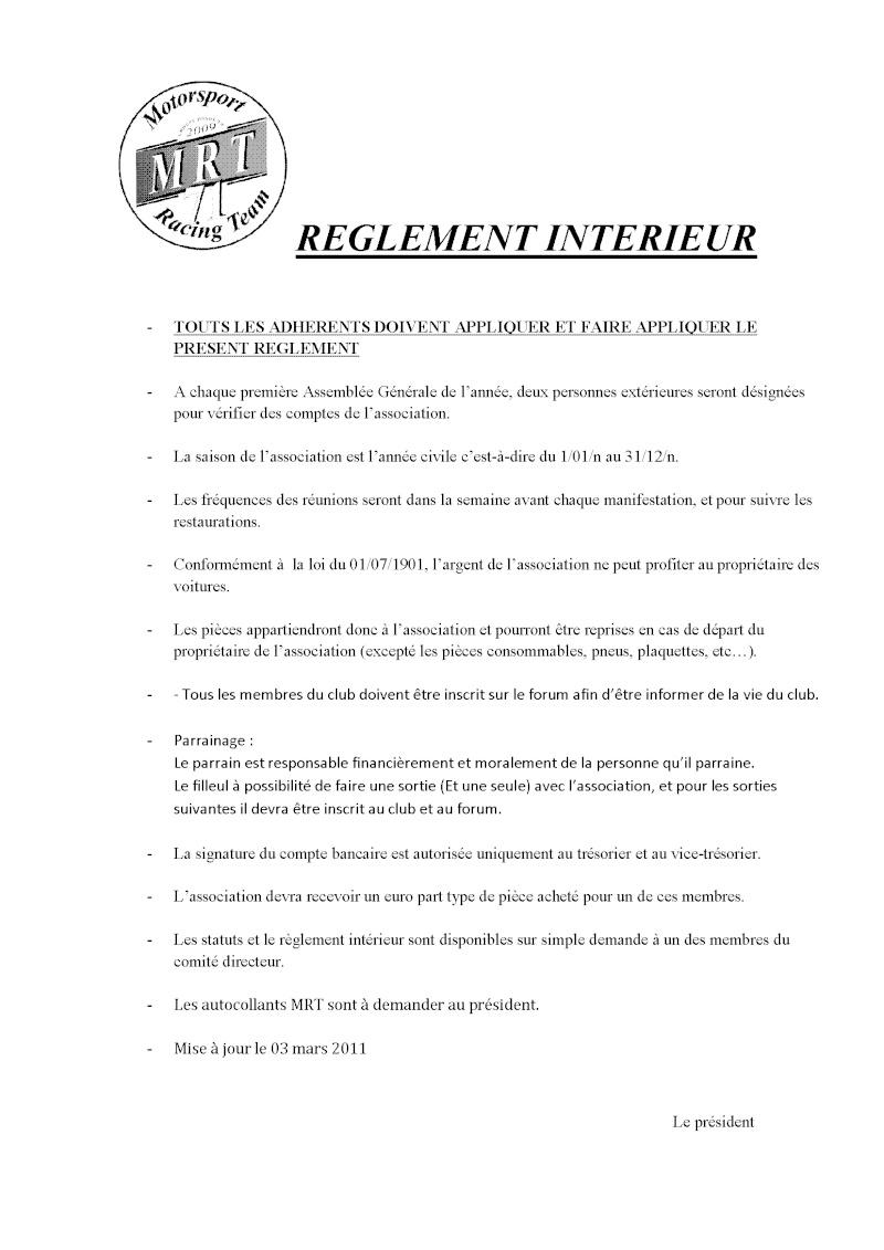 Réglement interieur de l'association Raglem10