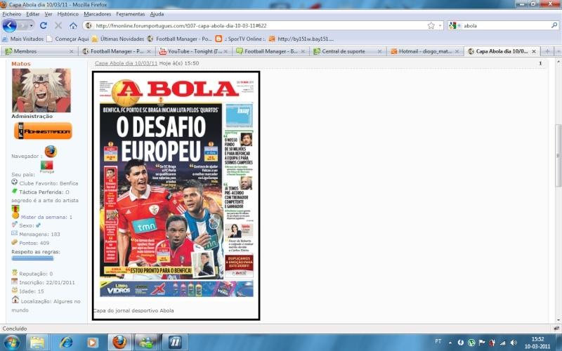 Capas de jornais no portal Ortal10