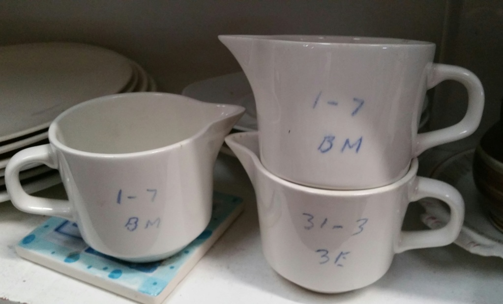 3 jugs showing test numbers 20180929