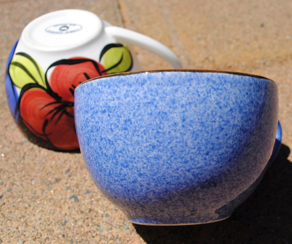 Studio ceramics Flat white shape cups - blue speckle pattern Dsc_8712