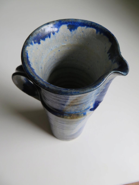 Tall jug with blue flambe like glaze - hand signed - hard to read! Img_0113