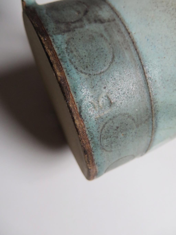 Small stoneware mug, incised geometric pattern. M or NN mark? Img_1312