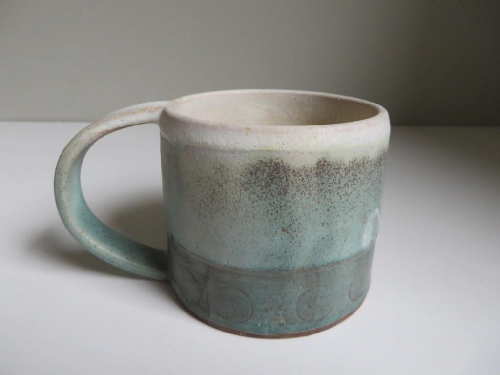 Small stoneware mug, incised geometric pattern. M or NN mark? Img_1313
