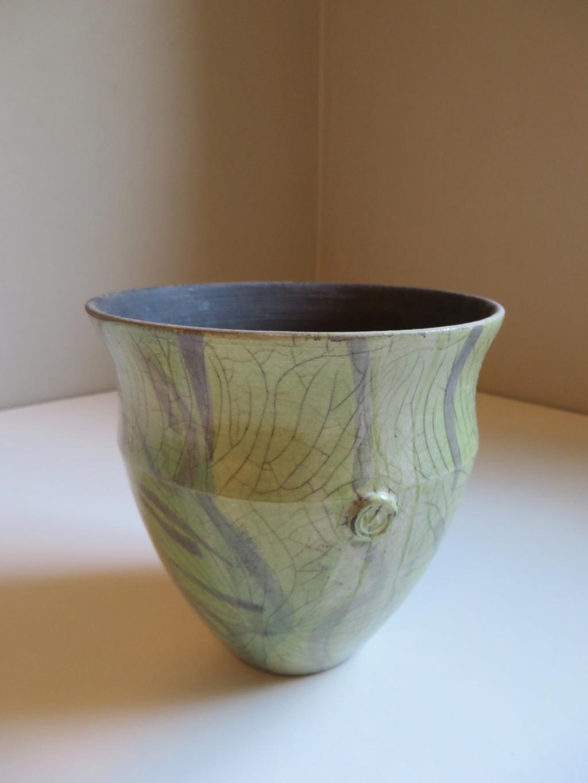 Crackle Raku vase with sprigged W mark - Richard Champion?  Img_9716