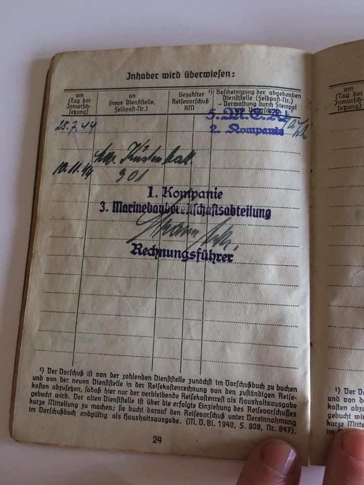 Soldbuch  allemand 39- 45 Kriegsmarine d'un malgré nous à Traduire 1910