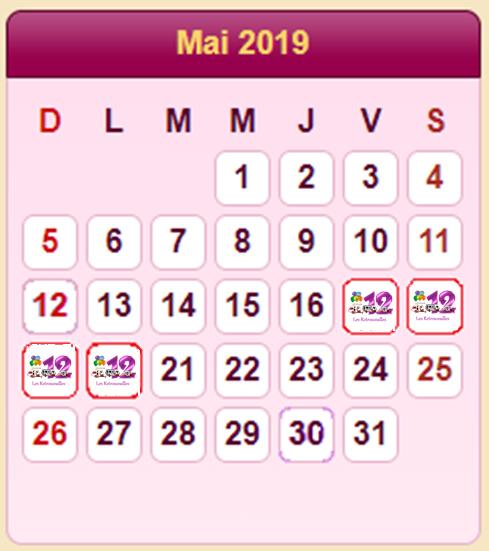 RASSEMBLEMENT FIEST@B 2019 - Les dates officielles Calend11