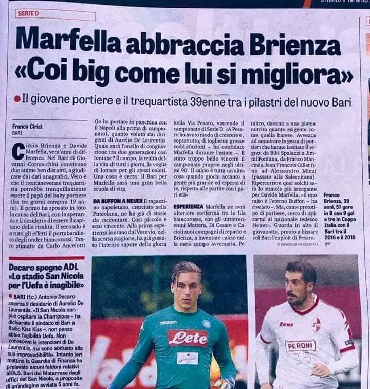 """GdS - Marfella abbraccia Brienza: """"Coi big come lui si migliora""""  Receiv11"""