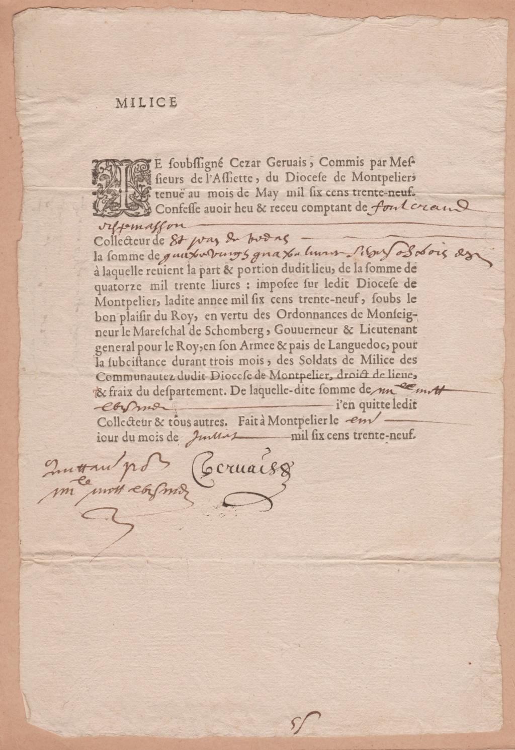 Estimation Documents papiers anciens régime sur Montpellier et Montauban + Conge 1639_r11