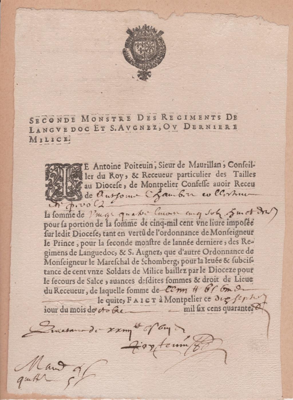 Estimation Documents papiers anciens régime sur Montpellier et Montauban + Conge 1640_r10