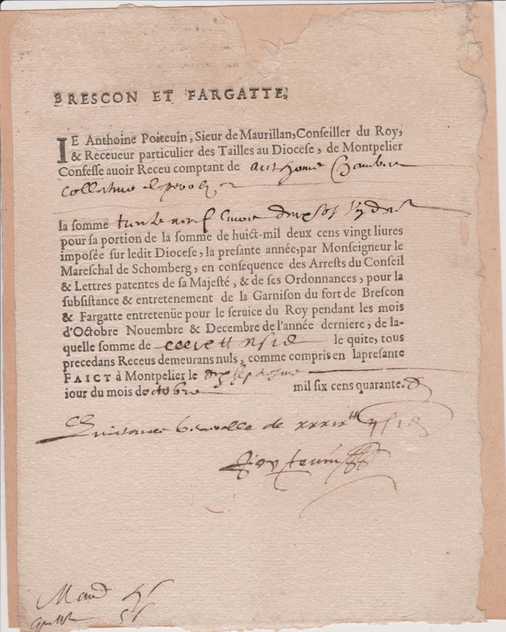 Estimation Documents papiers anciens régime sur Montpellier et Montauban + Conge 1640_r11