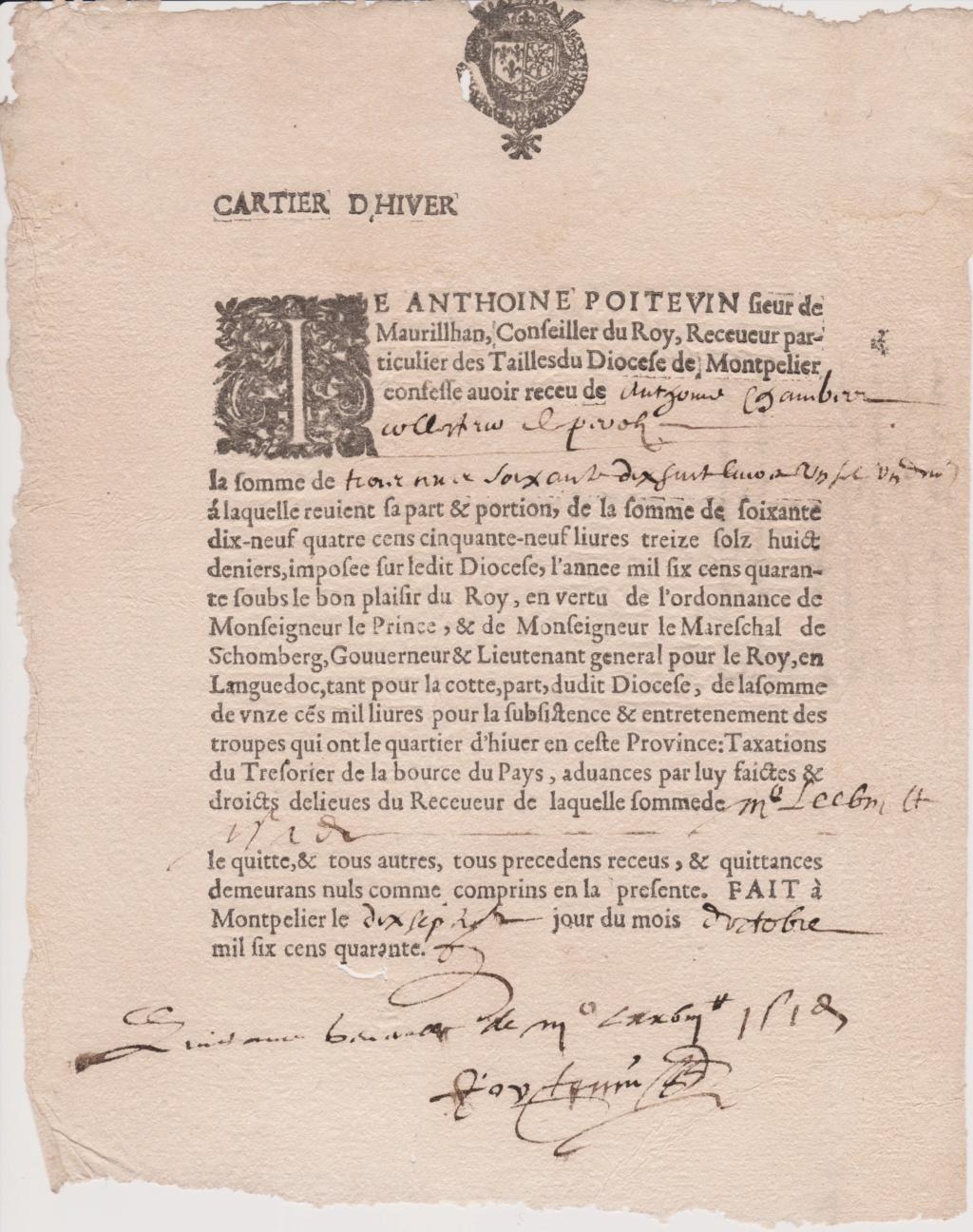 Estimation Documents papiers anciens régime sur Montpellier et Montauban + Conge 1640_r12