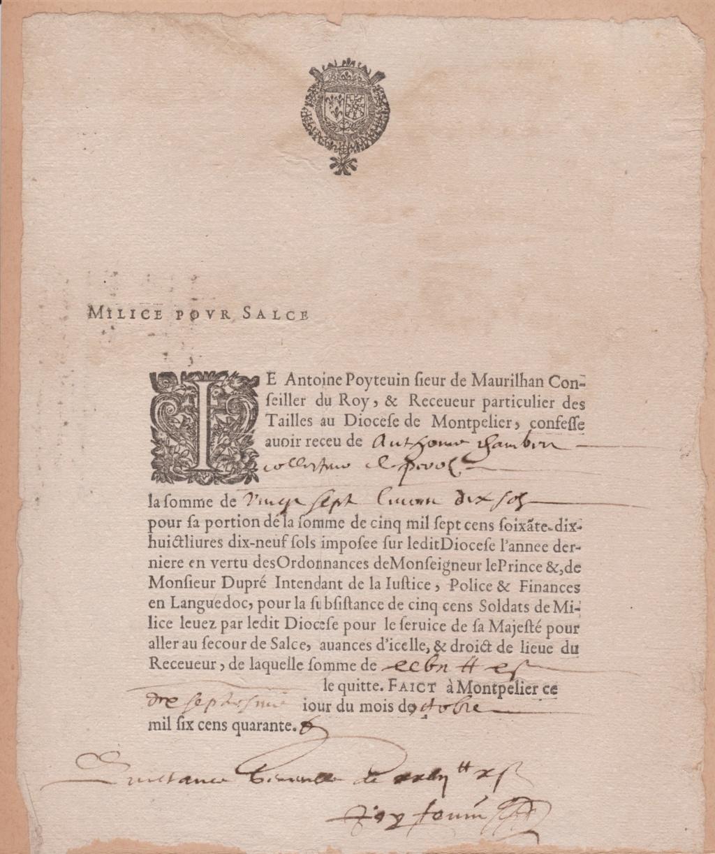 Estimation Documents papiers anciens régime sur Montpellier et Montauban + Conge 1640_r13