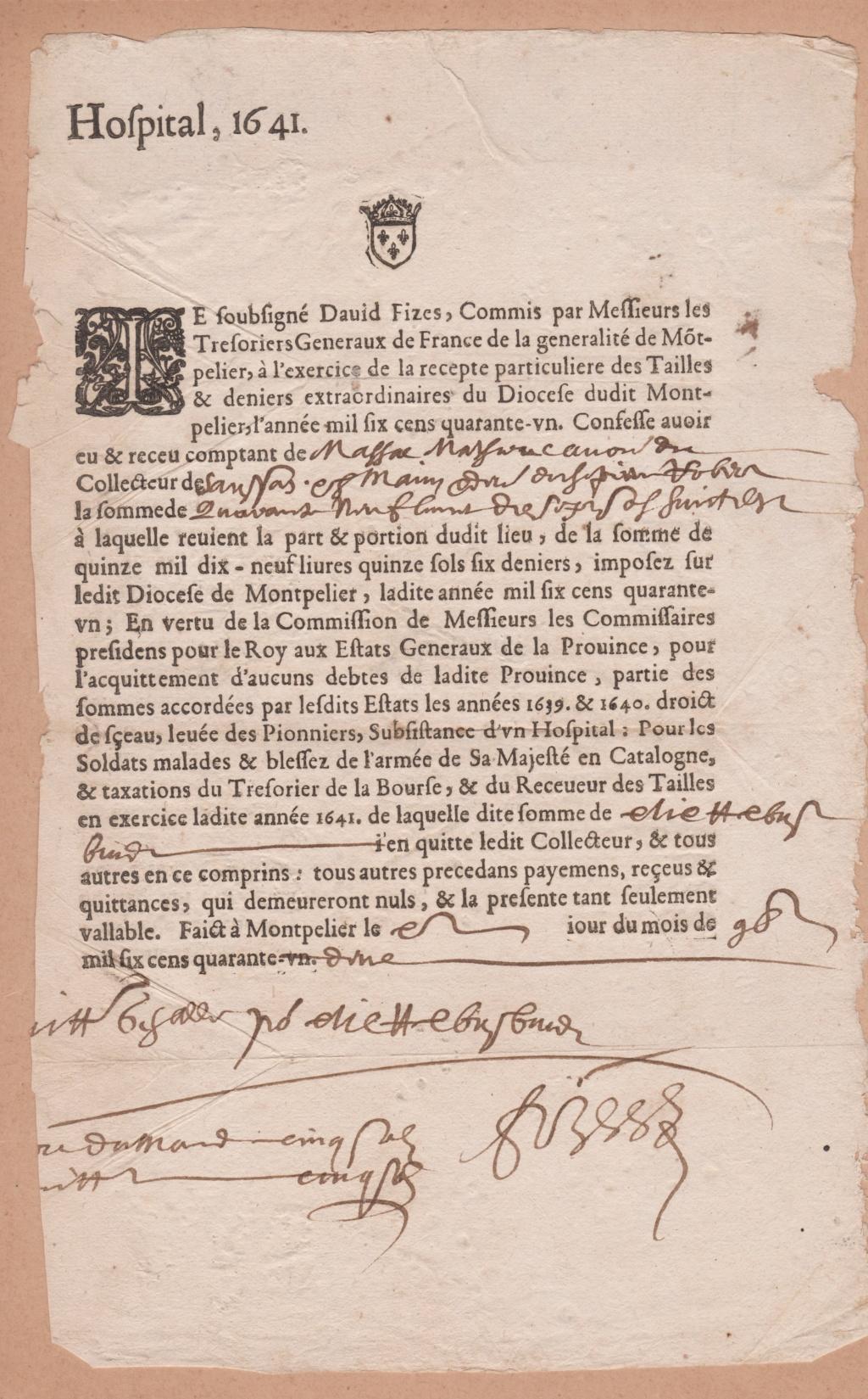 Estimation Documents papiers anciens régime sur Montpellier et Montauban + Conge 1641_r11