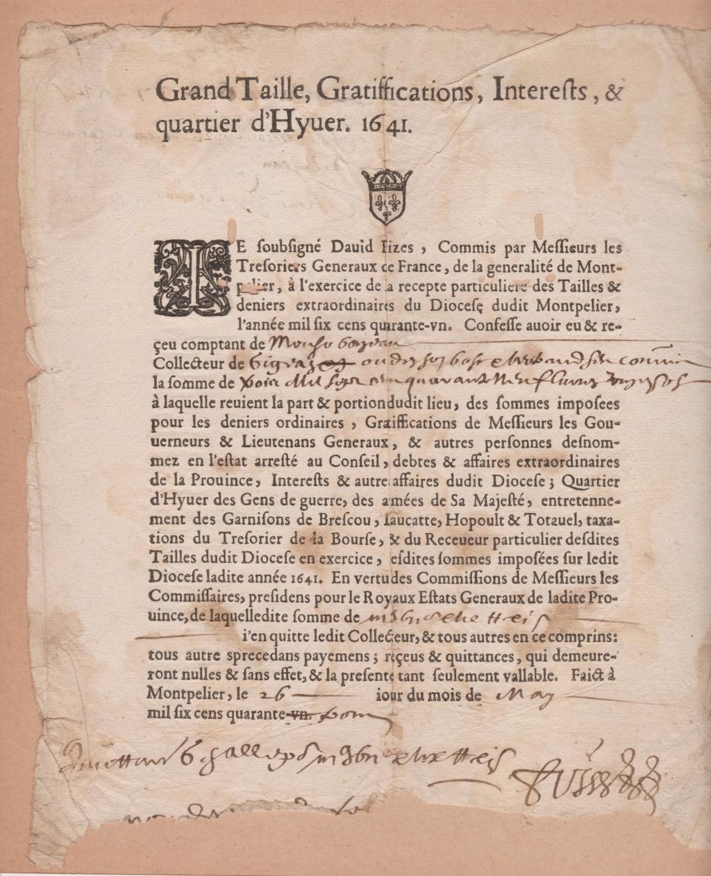 Estimation Documents papiers anciens régime sur Montpellier et Montauban + Conge 1641_r12