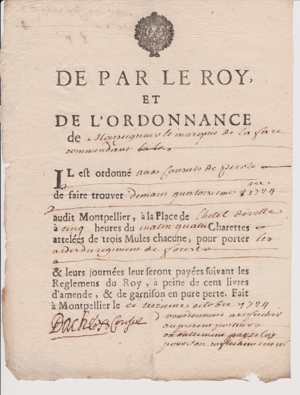 Estimation Documents papiers anciens régime sur Montpellier et Montauban + Conge 1724_r11