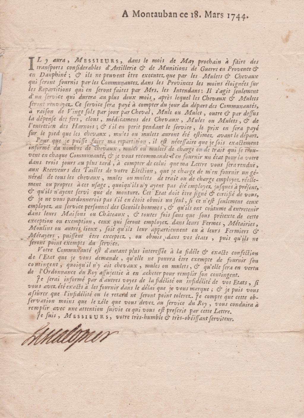 Estimation Documents papiers anciens régime sur Montpellier et Montauban + Conge 1744_f11