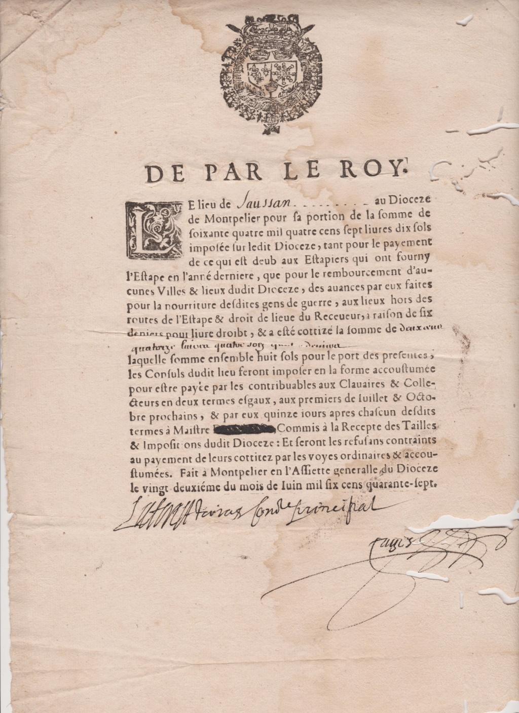 Estimation Documents papiers anciens régime sur Montpellier et Montauban + Conge 1747_r10
