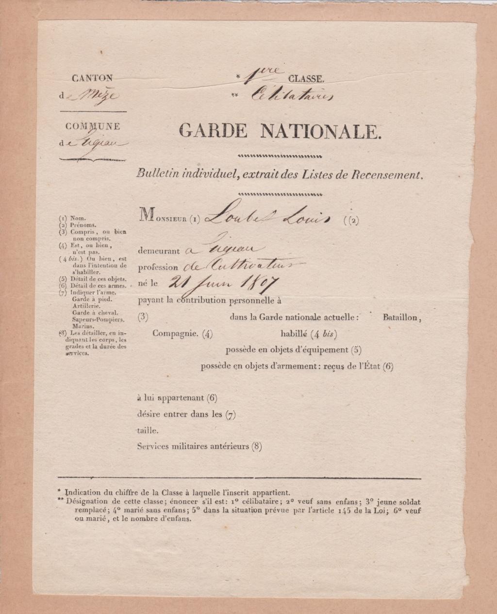 Estimation Documents de la garde Nationale vers 1830 dans l'Hérault 1830_g13