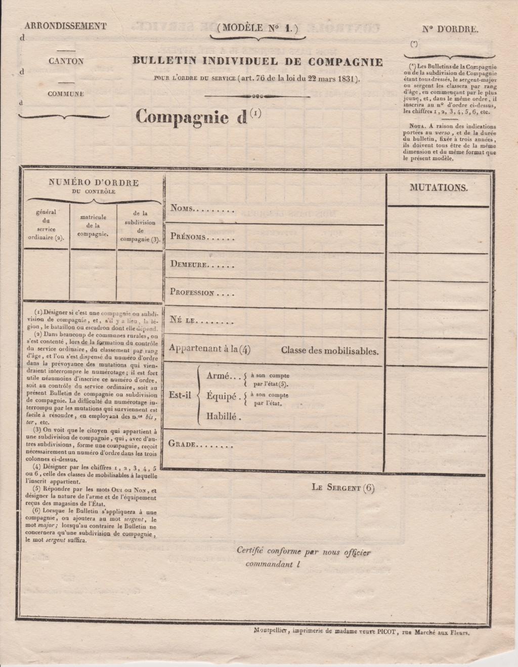 Estimation Documents de la garde Nationale vers 1830 dans l'Hérault 1831_g14