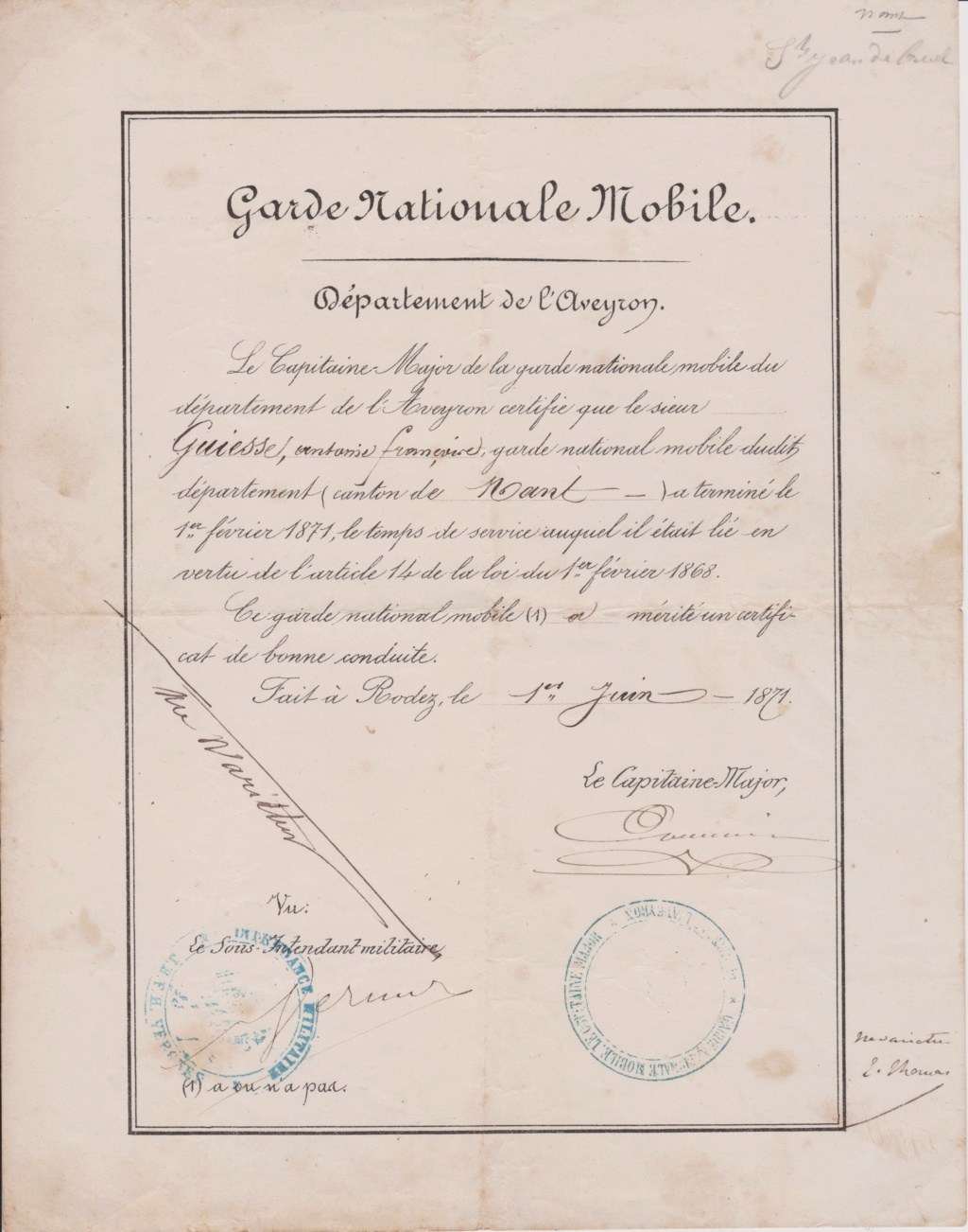 Estimation Documents de la garde Nationale de l'Aveyron 1871_g11