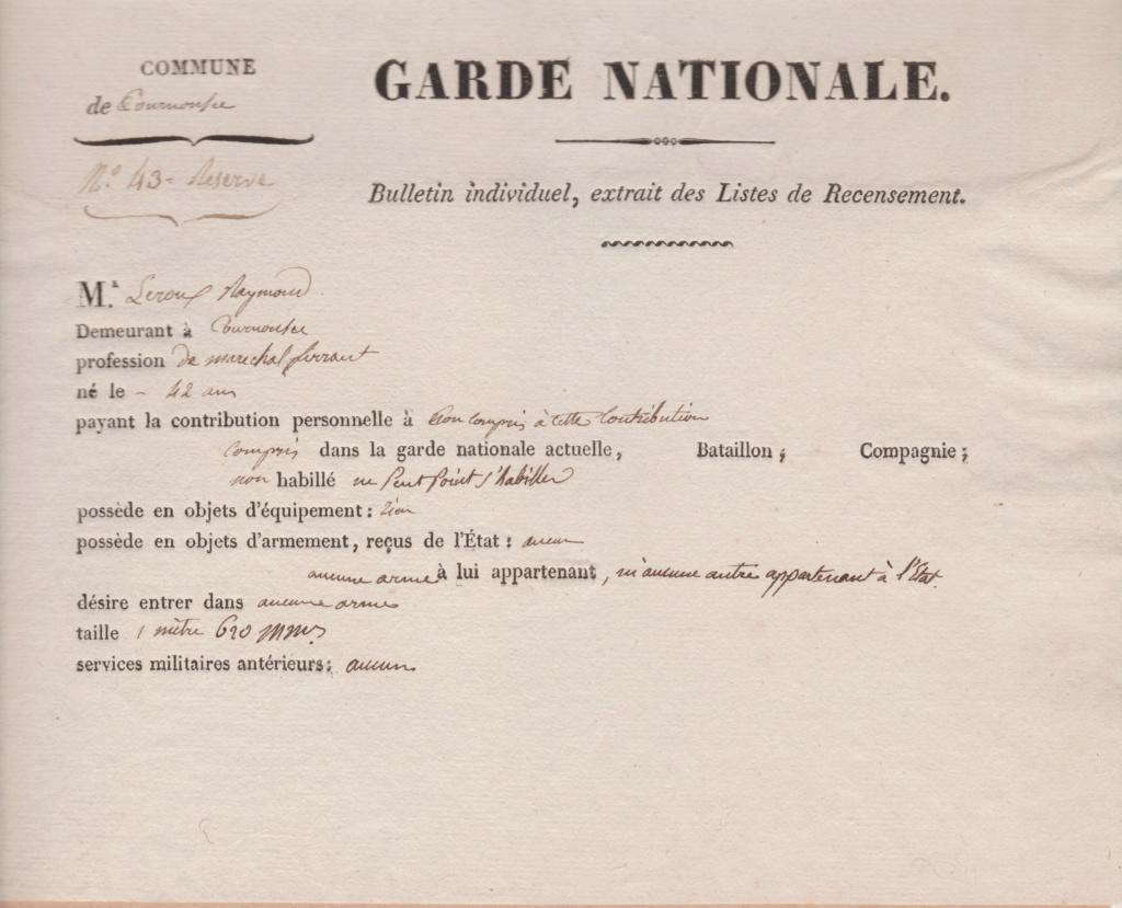 Estimation Documents de la garde Nationale vers 1830 dans l'Hérault Garde_11