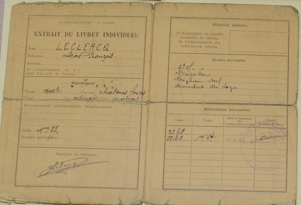 Le livret individuel (militaire) Type Armée d'armistice (Régime de Vichy) Lecler11
