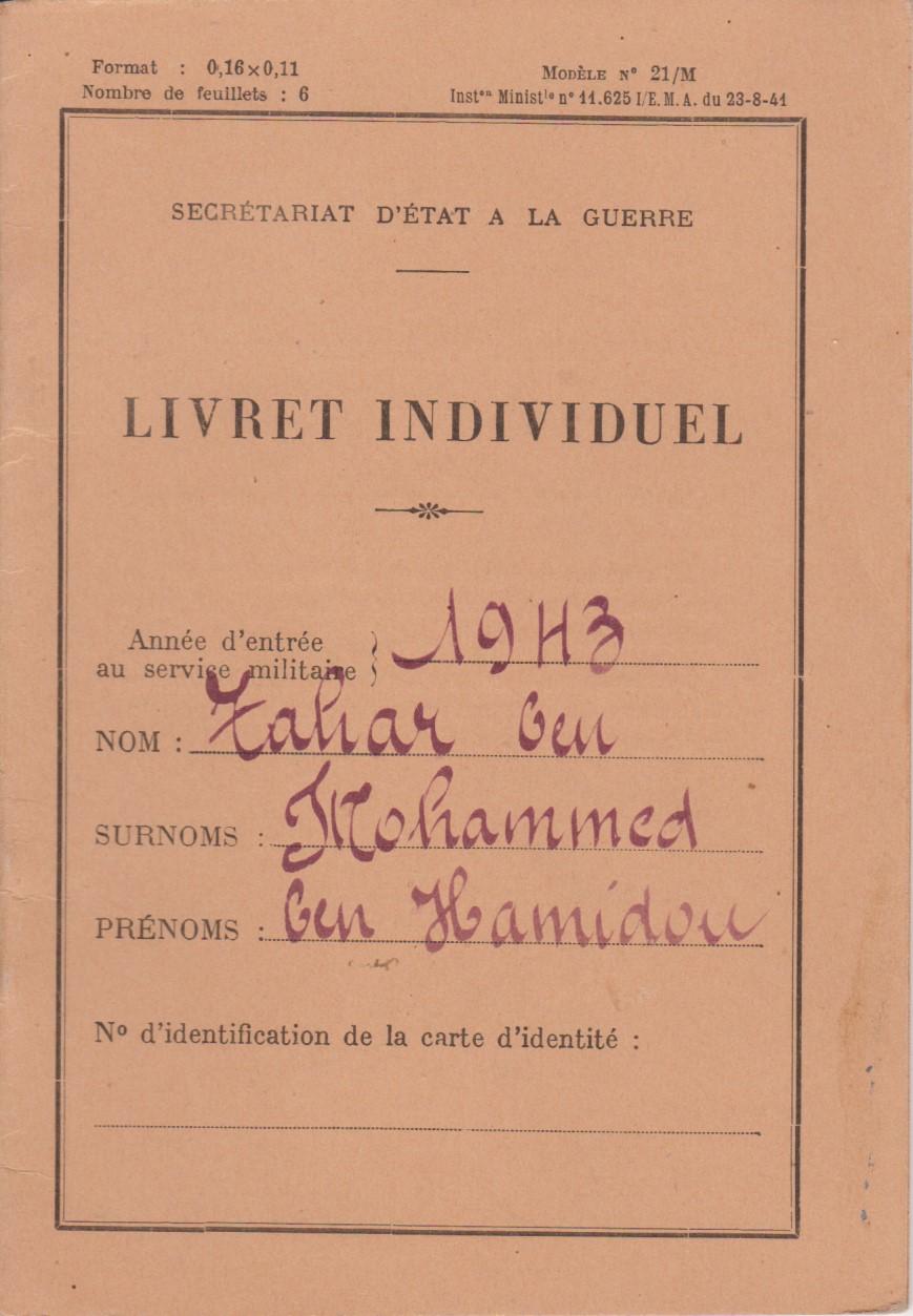 Le livret individuel (militaire) Type Armée d'armistice (Régime de Vichy) Livret10