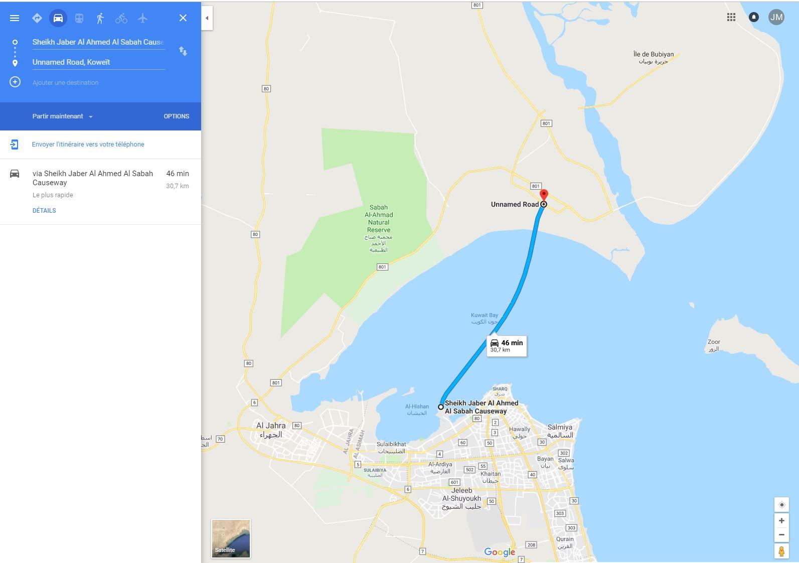 (Bientôt visible sur GE) Un pont sur la mer, de 36 km, à Koweït City. Pont_s10